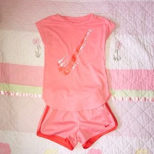 Other - Nike 2 Piece Girls Short Set. Pink /Orange. Size 6